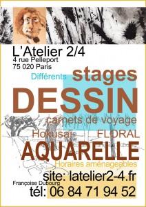 stage dessin carnet de voyage-aquarelle-Hokusai-floral-atelier 2-4-Paris