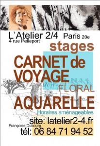atelier 2-4 - Paris - Dessin - Stage Carnet de Voyage - Aquarelle - Floral - Francoise Dubourg