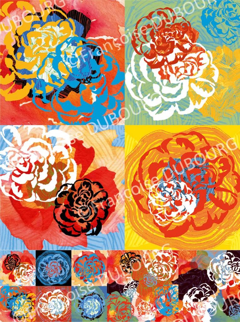 Rose Contrast-Francoise-Dubourg-Estampe-numerique