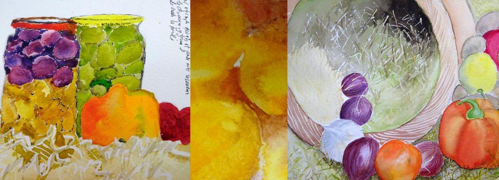 Des touches d'aquarelle réalisées en mi-humide, très mouillé ou plus sec