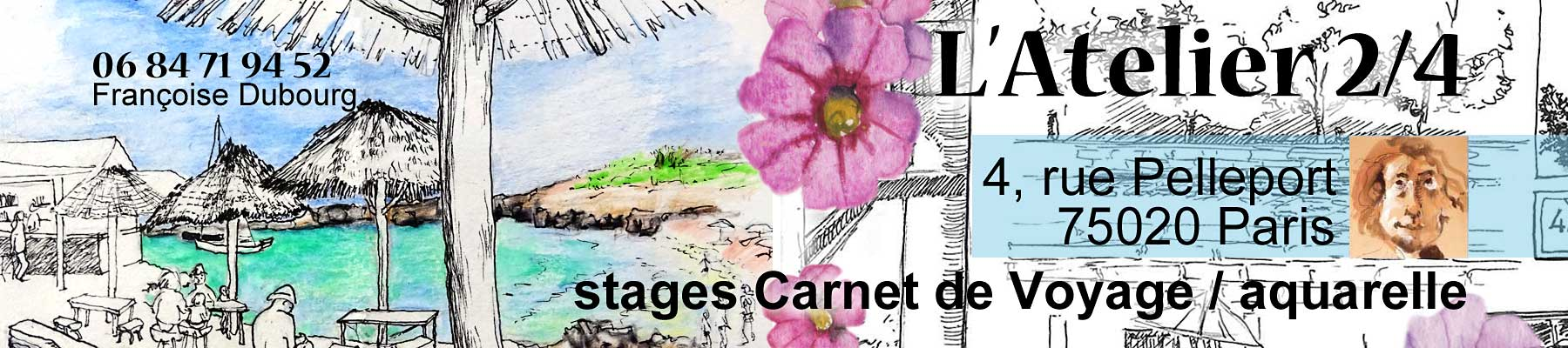 Atelier 2 4 paris stages dessin aquarelle francoise for Carnet de voyage paris